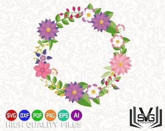 Floral wreath SVG - Laurel wreath SVG - Floral frame SVG - Floral circle svg - Wedding clipart - Wedding cut file - Floral decoration svg