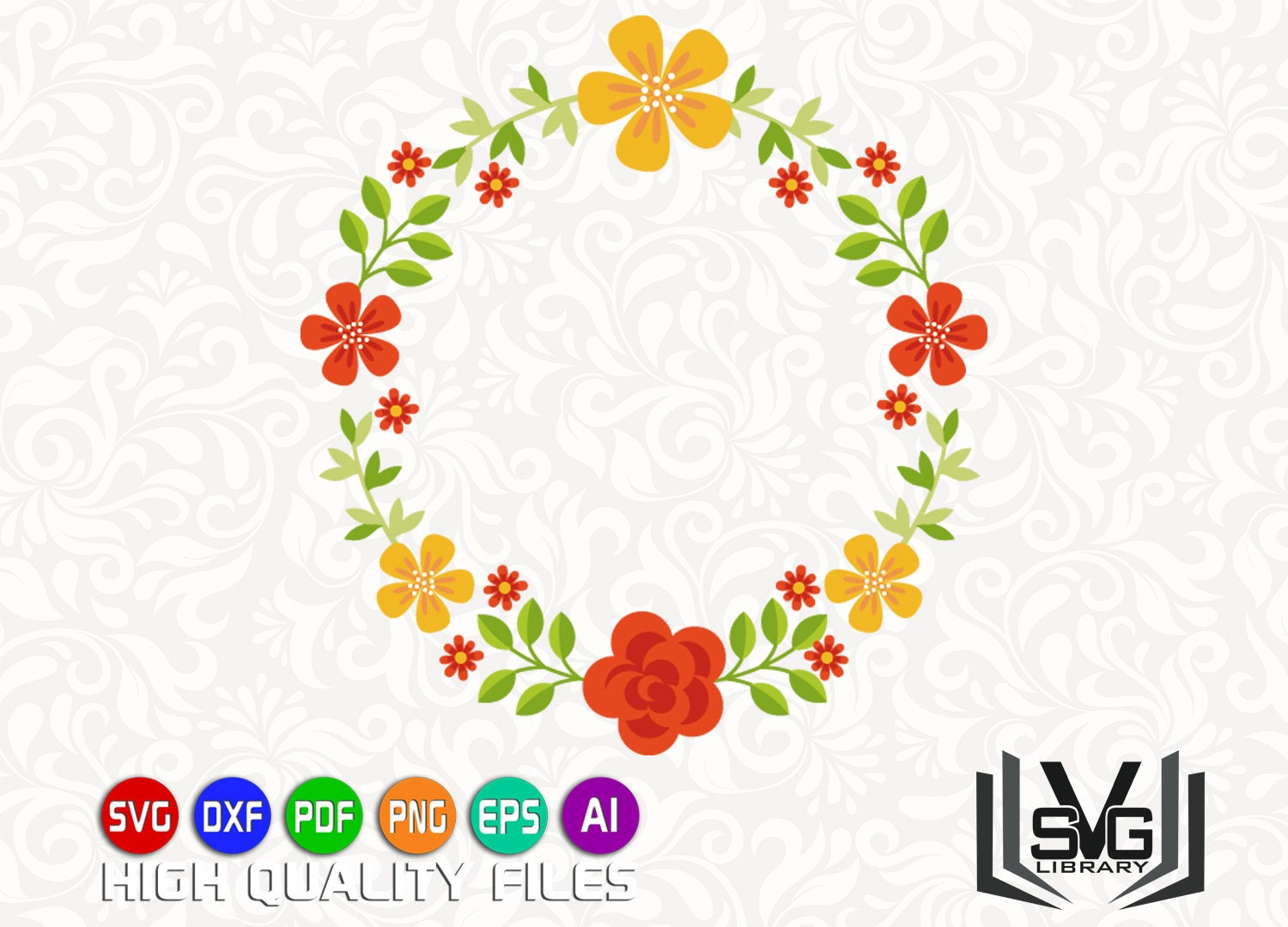 Floral Wreath Svg Laurel Wreath Svg Floral Circle Svg Etsy