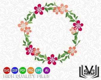 Floral wreath SVG - Laurel wreath SVG - Floral circle SVG - Floral frame svg - Floral clipart - Floral decoration - Wedding svg - Cut file