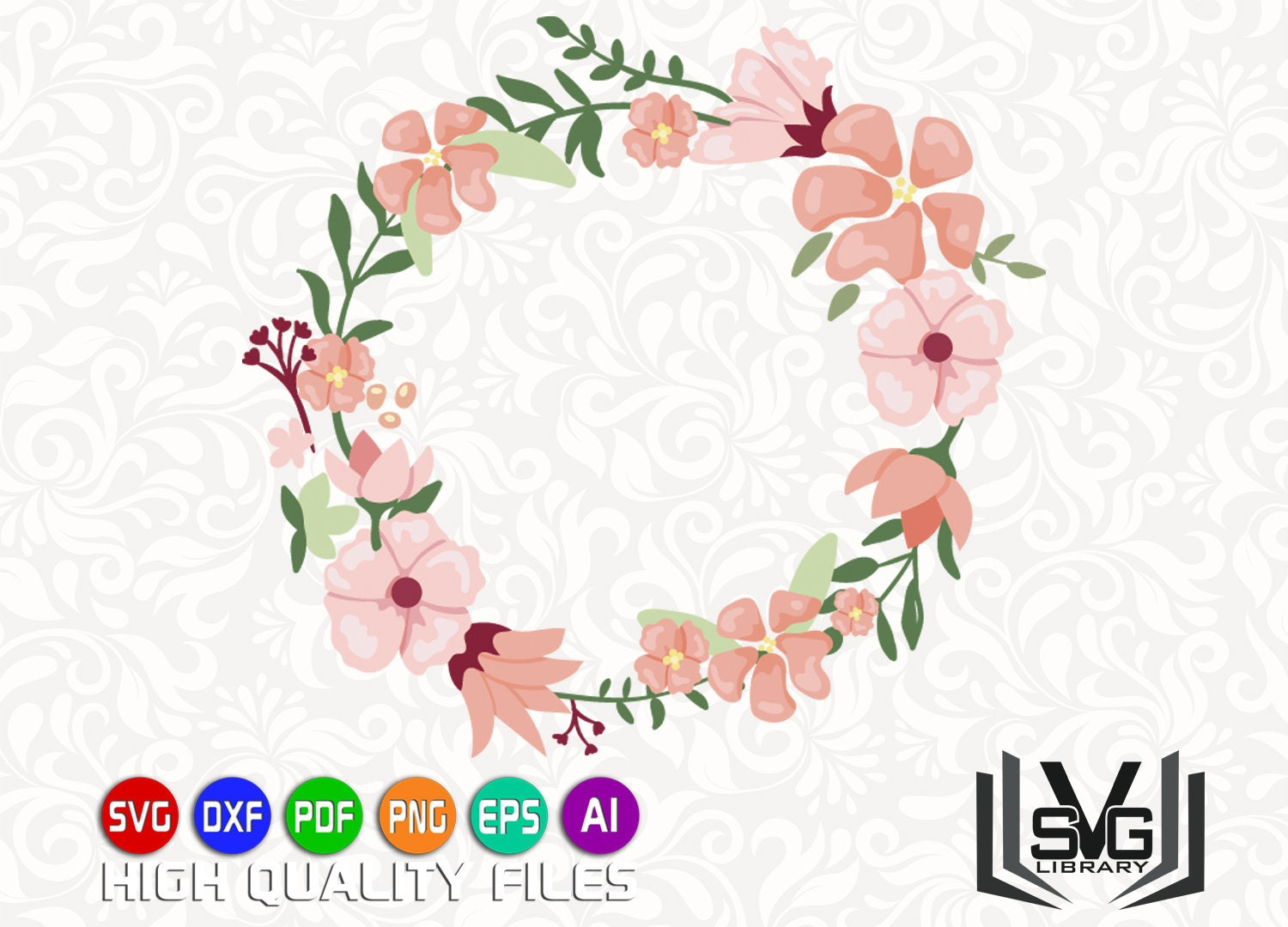 Floral Wreath Svg Laurel Wreath Svg Wreath Clipart Etsy