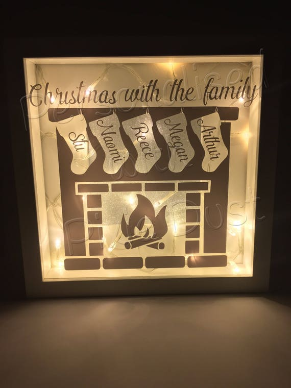 Christmas Family Box Frame With Lights Light Up Xmas Frame Etsy