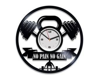 No Pain No Gain Gym Fitness Motivational LED Lighting Vinyl Clock Light Lamp