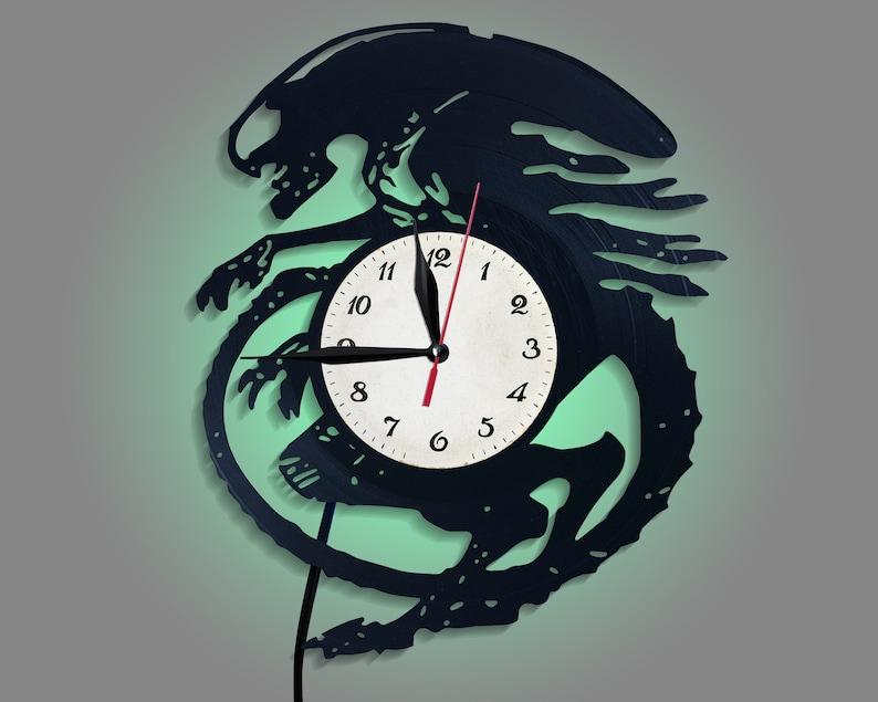 Alien Art Modern Wall Clock Monster Art Led Wall Art Alien Gift Led  Nightlight