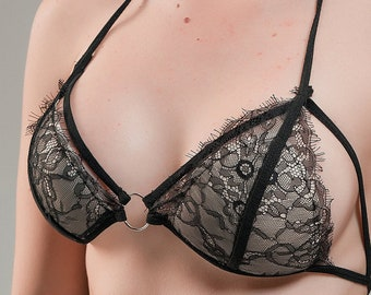 8572659ea3c Black soft lace and very sexy lingerie set. See through lingerie. Sexy  underwear.