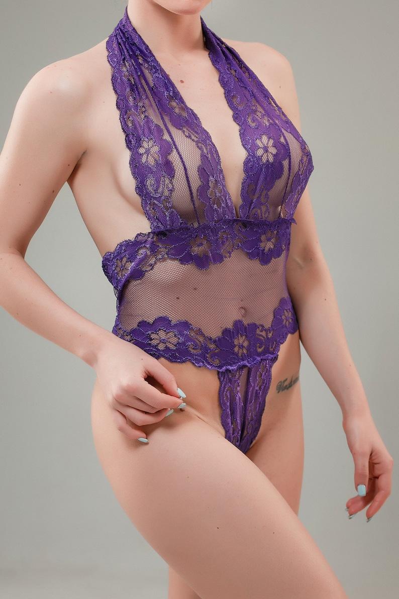 c7cbe38e1 Hot body suit purple body suit Super Sexy Lingerie Bodysuit