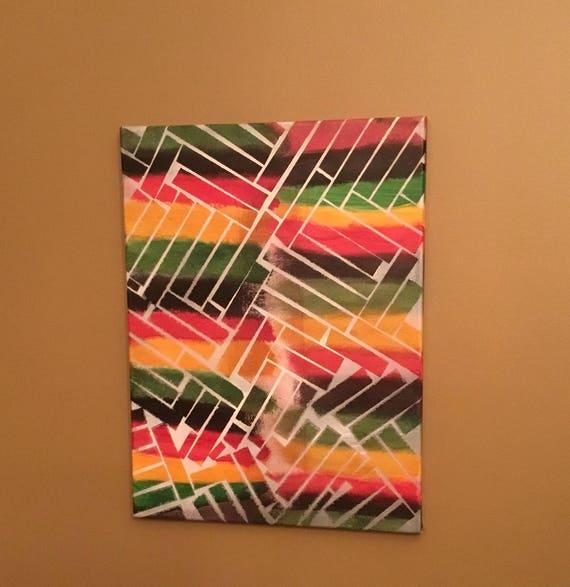 12x16 Canvas Painting Rasta Art Acrylic Painting Abstract Etsy