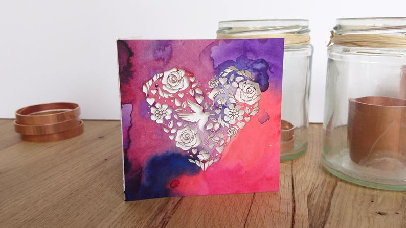 Anniversary card Watercolour Greeting Card Sympathy card Mothers Day Card Love Birds Heart Love Birds Art Galentine Bestie Gift