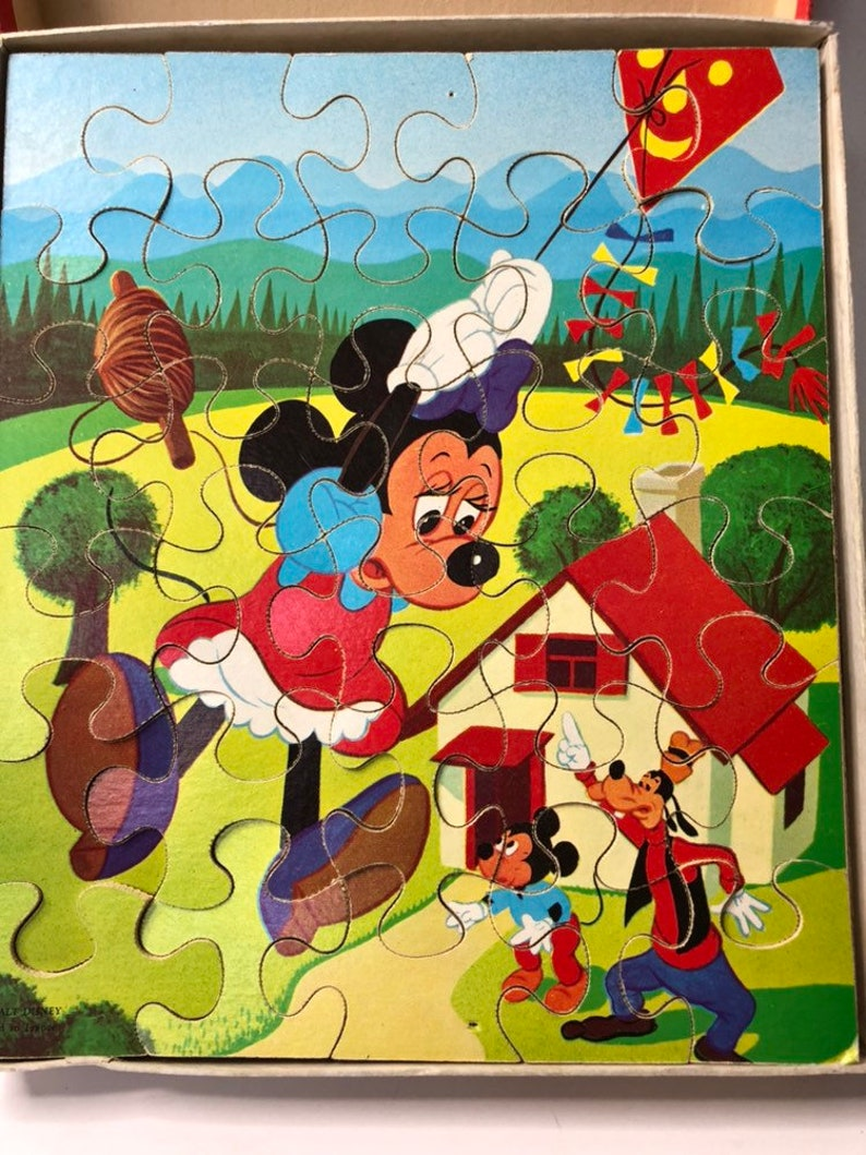 Antique Walt Disney Puzzle Mickey Minnie Goofy Nostalgic Toys Country Cottage French Farmhouse Decor Rare Antique Dealer