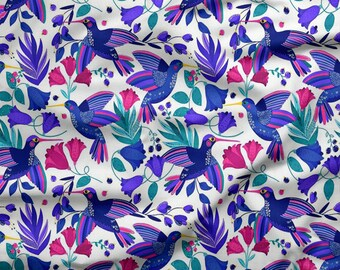 tissu par 10 centimetres coton oeko tex colibri bleu violet
