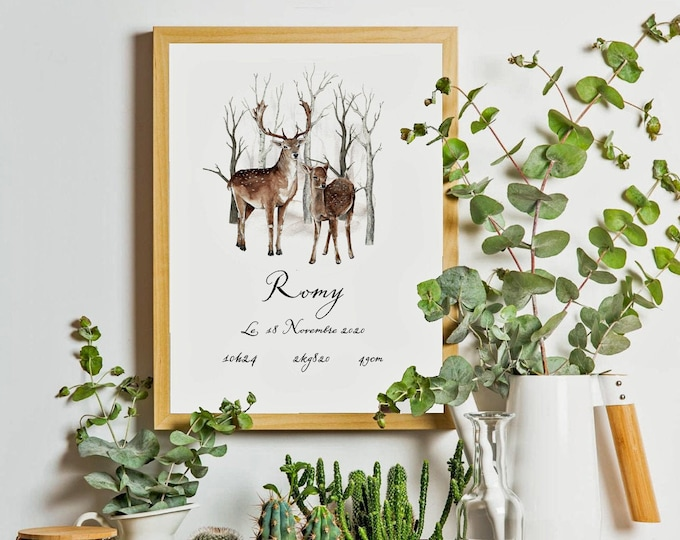 poster birth forest forest personalized digital baby design Scandinavian hygge gift