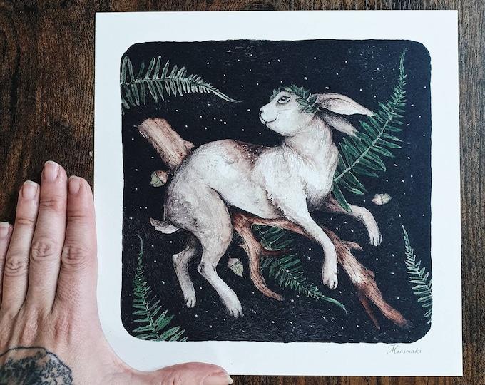 Illustration map 21cm enchanted rabbit foret woodland magic feerique minimaki