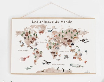 poster only GEANTE poster world map french animals back to school learning education