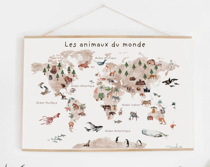 Featured listing image: poster only GEANTE poster world map french animals back to school learning education