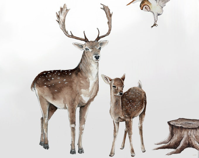 Sticker large deer, wall sticker forest woodland watercolor decoration room