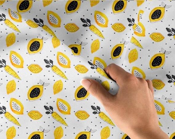 cotton fabric oeko tex lemons watercolor minimaki