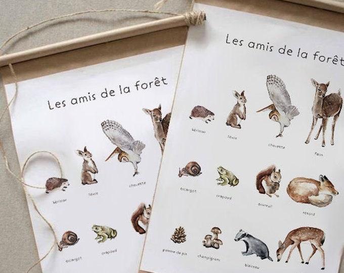 POSTER POSTER FOREST ANIMALS WOODLAND DECORATION CHILD NURSERY