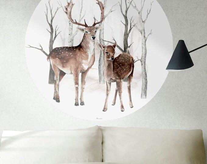 Wall decoration forest deer woodland spirit sticker adhesive sticker