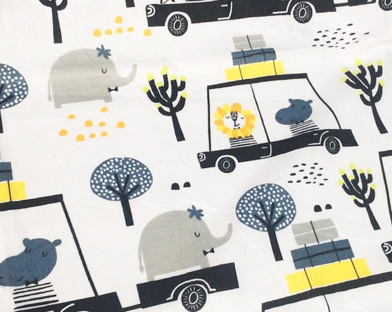 fabric per 10 centimeters cotton oeko tex elephant cars