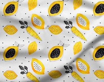 tissu par 10 centimetres coton oeko tex  citrons aquarelle minimaki