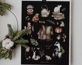 poster poster HOUSE animals of the forest watercolor illustration