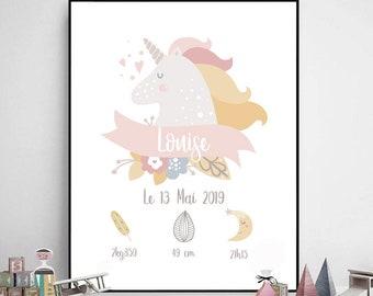 affiche naissance personnalisée licorne