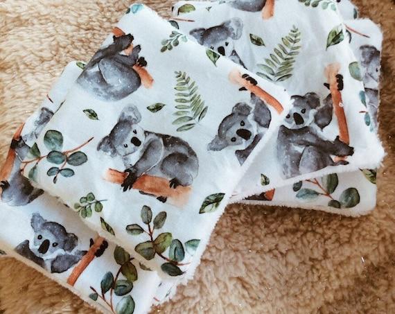 koala set birth bib watercolor wipes