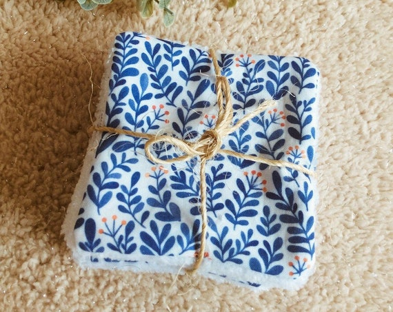 vegetal blue leaf wipes washable oeko tex minimaki demaquillant baby care