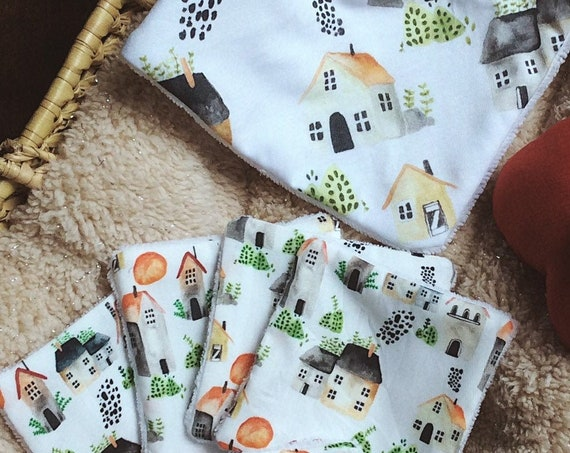 set birth bib wipes watercolor houses