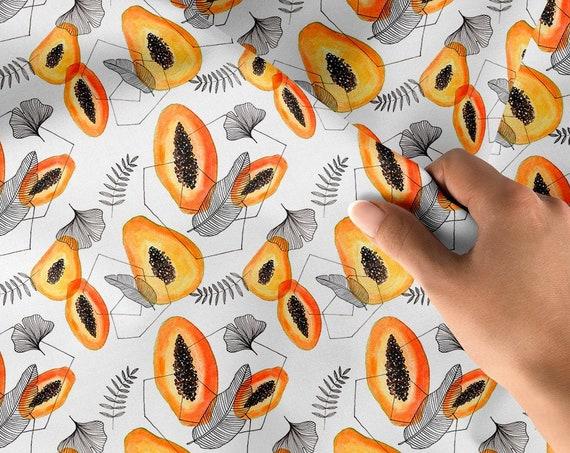 tissu coton oeko tex  papaye