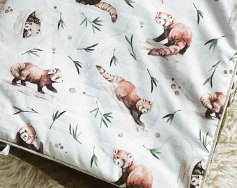 couverture minky bebe panda roux