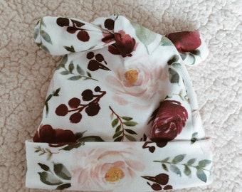 watercolor flower birth cap