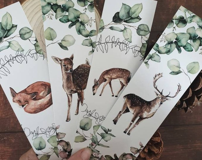 Set of 2 brands pages double-sided forest woodland deer doe fox animals watercolor