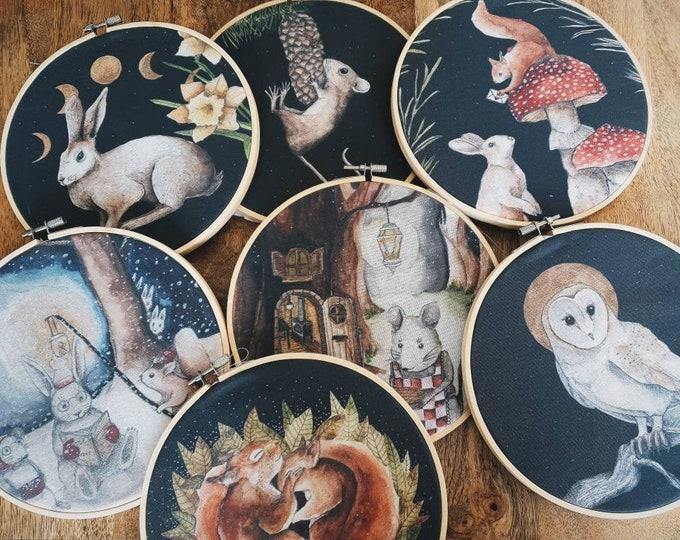 Decoration drum circle woodland foret animals original mural drawing
