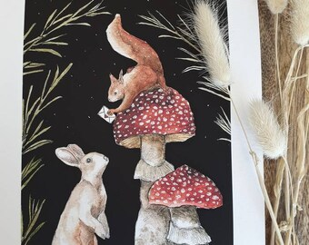 Drawing watercolor paper Hahnemuhle textured quality woodland foret animals illustration