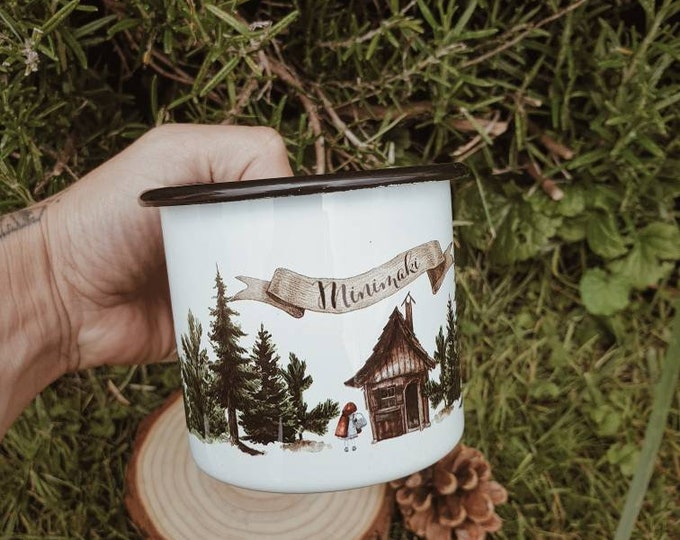 Mug emailed vintage camping foret minimaki woodland