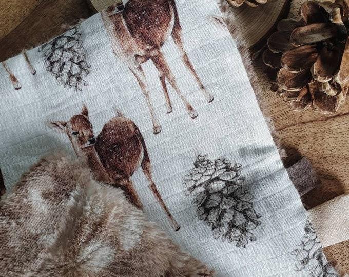 Square soft impression fawn gauze fur bambi gift birth