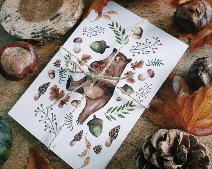 Lot of 8 illustration maps autumn Christmas nature drill animals watercolor