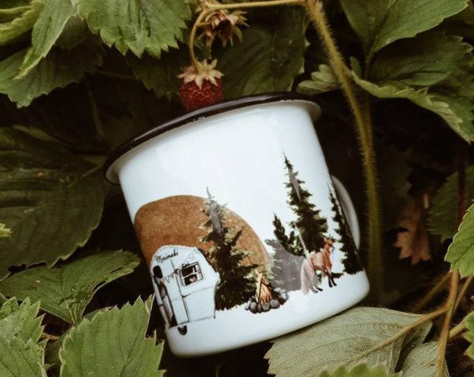 Mug emaillé camping vintage foret minimaki woodland