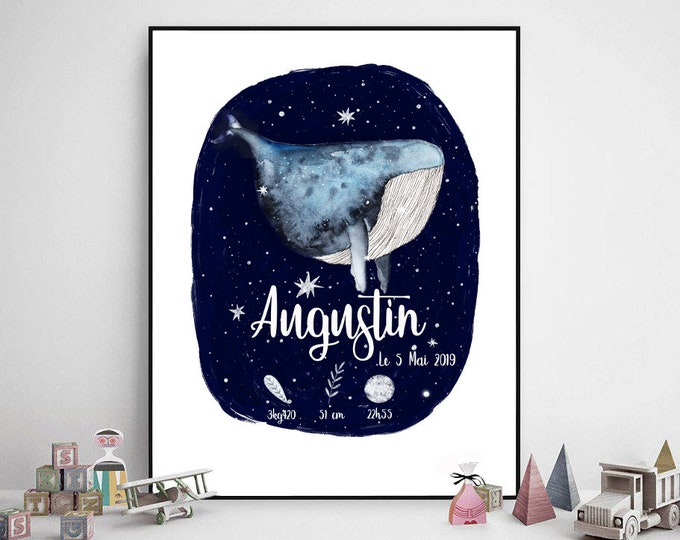 poster birth personalized baby whale cosmic design Scandinavian hygge gift
