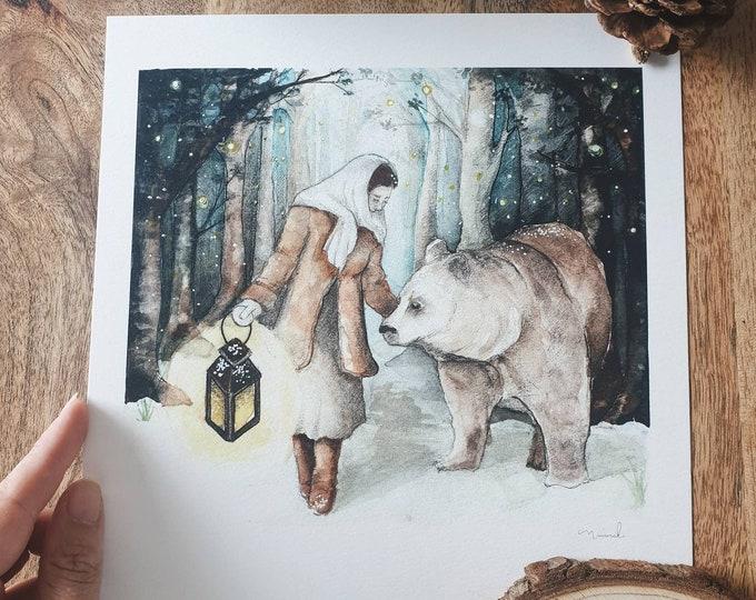 Map illustration 21cm Russian tale enchanted forest forest magic feerique minimaki