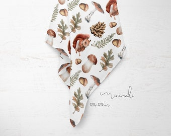 maxi lange baby forest pine cone watercolor vintage cotton birth gift breastfeeding veil