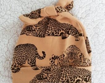 leopard mustard birth cap
