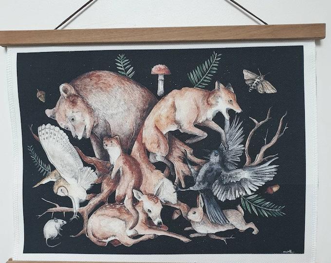decoration textile foret woodland animals deer faon decoration room room hanging canvas