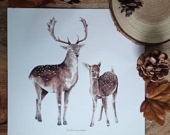 Illustration map 21cm deer fawn enchanted foret woodland magic feerique minimaki