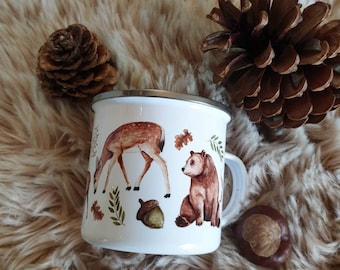 MOTIF FORET Mug enamelled metal pattern foret illustration cup coffee the camping