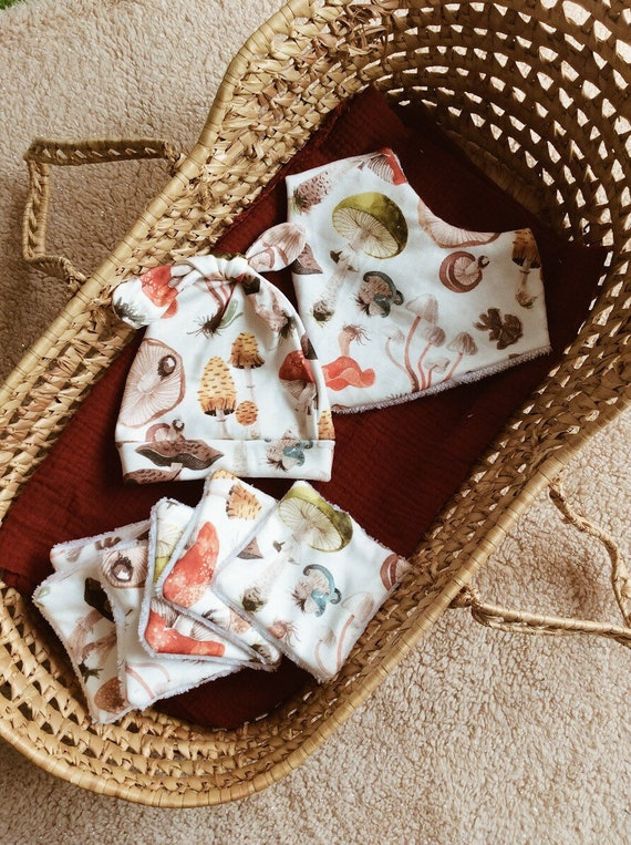 set birth bib wipes cap watercolor jersey nature mushrooms