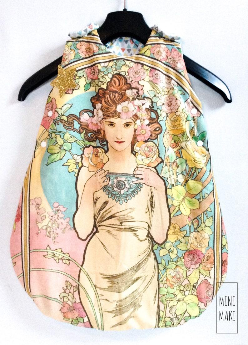Mucha sleeping bag art nouveau artist flowers nature arabesque sleeping night sleep baby child birthstone Christmas gift