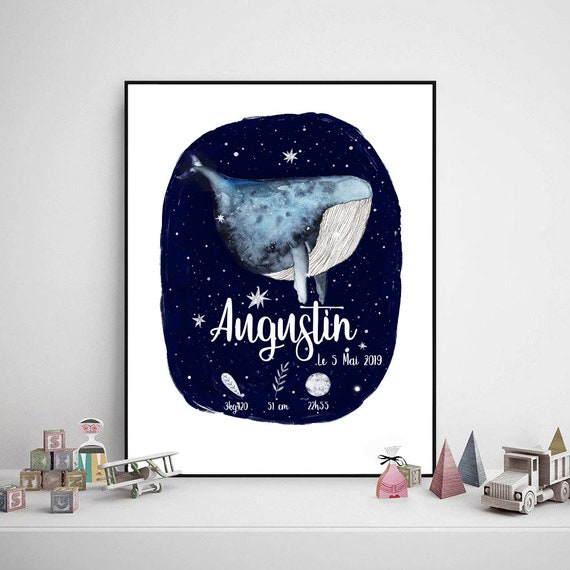 NUMERIC ENVOI displays personalized birth baby whale cosmic design hygge Scandinavian gift
