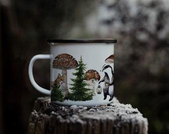Mug badger enamelled camping vintage forest minimaki woodland