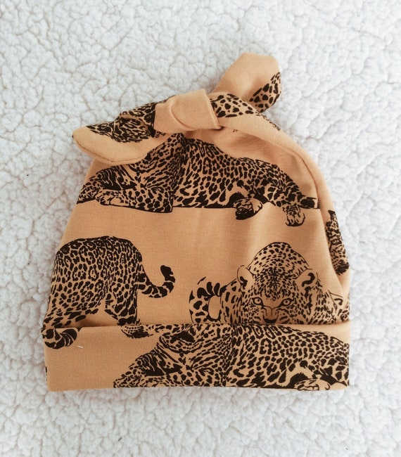 leopard mustard birth cap